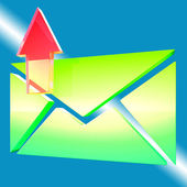 Envelope Symbol Shows Email Outbox — Stock Photo