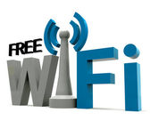 Boxed Free Wifi Internet Symbol Shows Coverage — Stock Photo