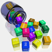 Jar Coloured Dice Shows WWW. Addresses — Stockfoto