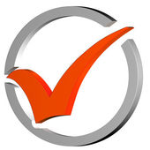 Orange Tick Circled Shows Quality And Excellence — Stock Photo
