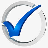Blue Tick Circled Shows Checked and Verified — Stock Photo