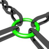 Verde quattro link mostra connessione e stare insieme — Foto Stock