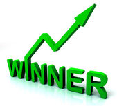 Green Winner Word Shows Successes And Victory — Stock Photo