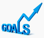 Blauwe doelen woord toont doelstellingen hoop en toekomst — Stockfoto