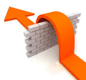 Orange Arrow Over Wall Means Overcome Obstacles — Foto Stock