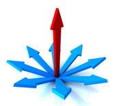 Red Vertical Arrow Shows Path Chosen — Stock Photo