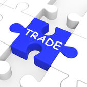 Trade Puzzle Shows Exportation And Importation — Stock Photo