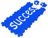 Success Puzzle Shows Accomplishment And Successful Business — Stock Photo