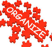 Organize Puzzle Shows Arranging Or Organizing — Foto de Stock