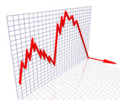 Red Graph Shows Sales Or Profit — Stock Photo