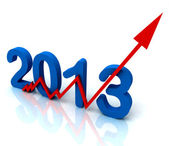 Angled 2013 Red Arrow Shows Sales For Year — Stock Photo
