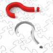 Question Mark Puzzle Shows Asking Questions — Lizenzfreies Foto