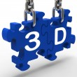 3D Means 3Dimensional High Definition Entertainment Vision - Stock Photo