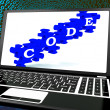 Stock Photo: Code On Laptop Shows System Codification