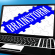 Brainstorm Puzzle On Notebook Showing Ideas For E-book — Stockfoto
