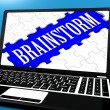 Brainstorm Puzzle On Notebook Showing Ideas For E-book — Stock Photo