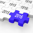 Stockfoto: 2016 Puzzle Piece Shows Progression