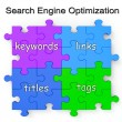 Stock Photo: Search Engine Optimization Puzzle Shows Links And Tags