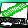 Stock Photo: Testimonials Puzzle On Notebook Shows Online Credentials