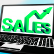 Sales On Notebook Showing Marketing Profits - Foto Stock