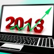 Stock Photo: 2013 Going Up On Laptop Shows Next Year's Sales