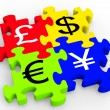 Stock Photo: Currency Symbols Puzzle Showing Forex