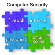 Computer Security Puzzle Shows Firewall And Antivirus — Foto Stock #16638273