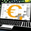 Euro Sign On Laptop Shows Online Money Exchange — Stock Photo