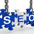Seo Means Search Engine Optimization And Promotion — Stock Photo