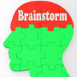 图库照片: Brainstorm Shows Mind Thinking Clever Ideas