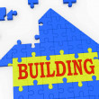 Building House Shows Teamwork Constructing Puzzle — Stock Photo #16638633