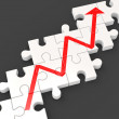 Profit Line Puzzle Shows Increased Financial Target — Stock Photo