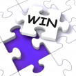 Win Puzzle Shows Success Winner Succeeding — Stock Photo