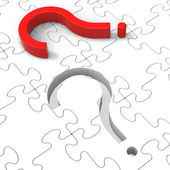 Question Mark Puzzle Shows Asking Questions — 图库照片