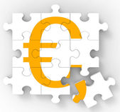 Euro Puzzle Shows European Currency — Stock Photo