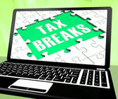 Tax Breaks On Laptop Shows Internet Paying — Stock Photo