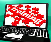 Training Puzzle On Notebook Shows Webinars — Stock Photo