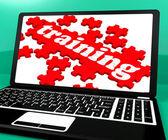 Training Puzzle On Notebook Shows Webinars — Stock Photo
