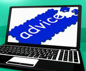 Advice Puzzle On Notebook Shows Online Advisory — Stock Photo