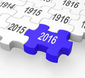 2016 puzzle pezzo mostra la progressione — Foto Stock