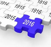 Pieza del rompecabezas 2016 muestra progresión — Foto de Stock