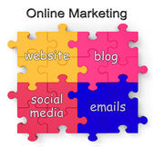 Online Marketing Puzzle Shows Websites And Blogs — Stock Photo