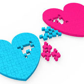Dois corações 3d mostrando gestos românticos — Fotografia Stock
