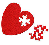 Unfinished Heart Puzzle Shows Valentine's Day — Stock Photo