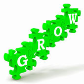 Grow Puzzle Shows Maturity And Growth — Stock Photo
