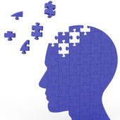 Head Puzzle Shows Slipping Ideas — Stock Photo