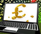 Pound Symbol On Laptop Shows Britain Online Marketing — Stock Photo