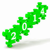 2014 Puzzle Shows New Year's Festivities — Stock Photo