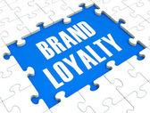 Puzzle de lealtad de marca con productos confiables — Foto de Stock