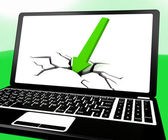 Arrow Hitting Ground On Laptop Shows Drop On Sales — Stock Photo